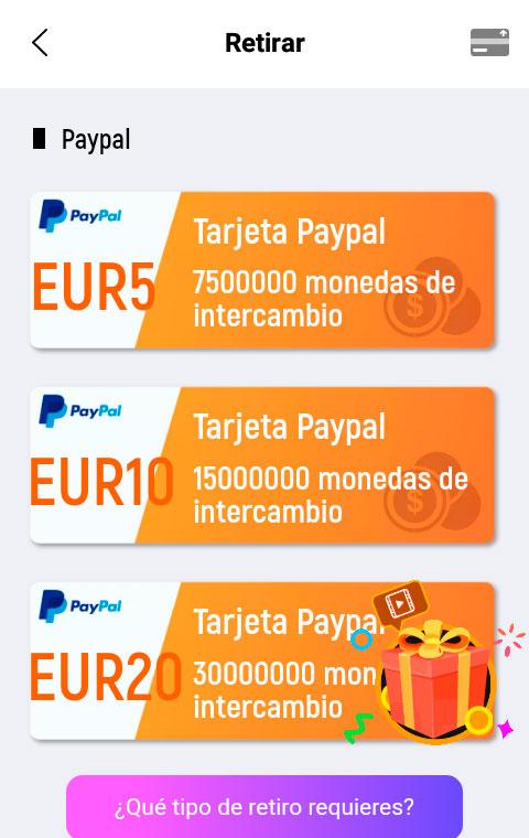 Tarjetas PayPal que podemos conseguir con Lucky Time.