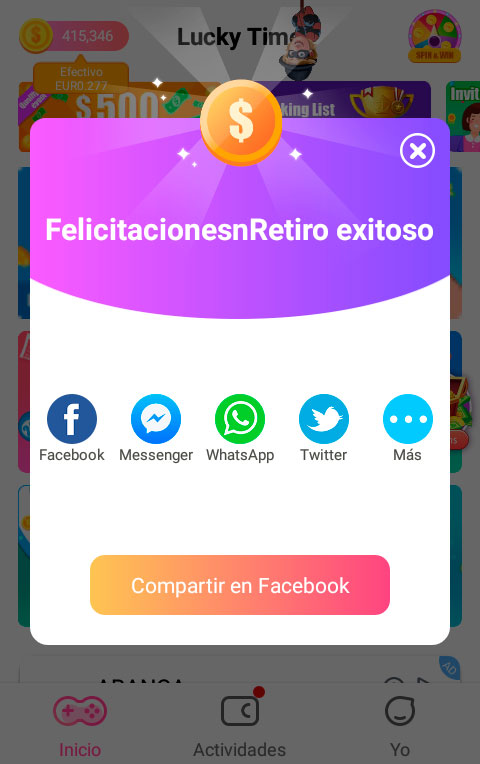 Enlaces de invitación para la aplicación Lucky Time