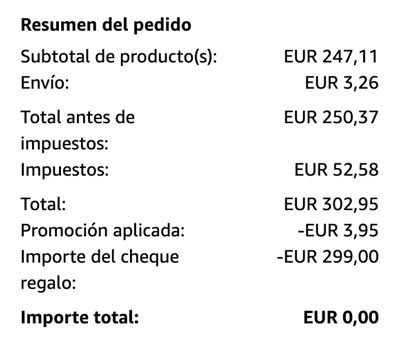 Pago con cheques regalo de amazon
