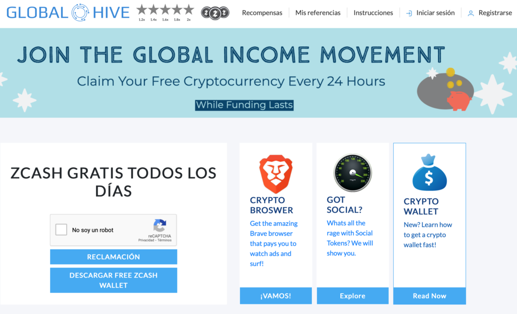 global-hive faucets criptomonedas
